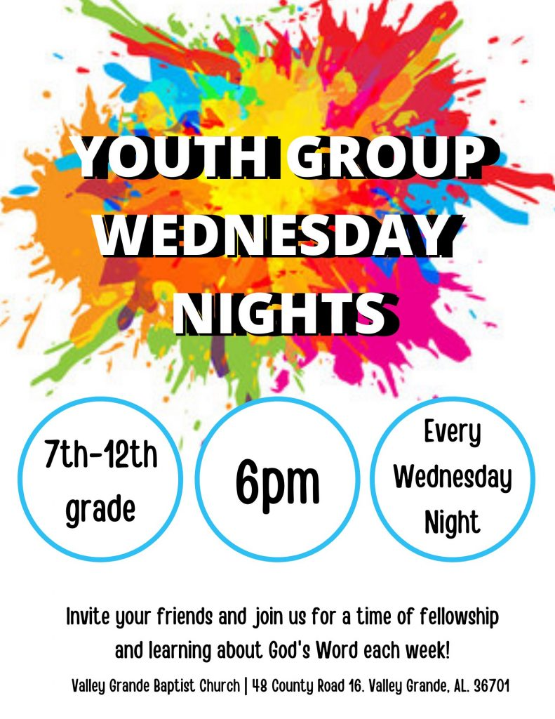 YOUTH GROUP WEDNESDAY NIGHTS